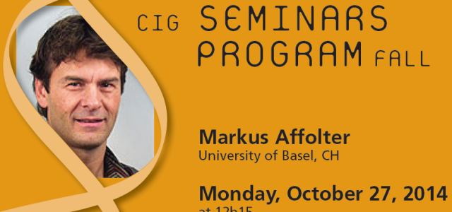 CIG Seminars Fall 2014 Monday 12:15, Génopode, auditorium B, followed by sandwiches Monday October 27, 2014 Markus Affolter, University of Basel, CH «Live imaging and beyond: a deep look at vascular […]