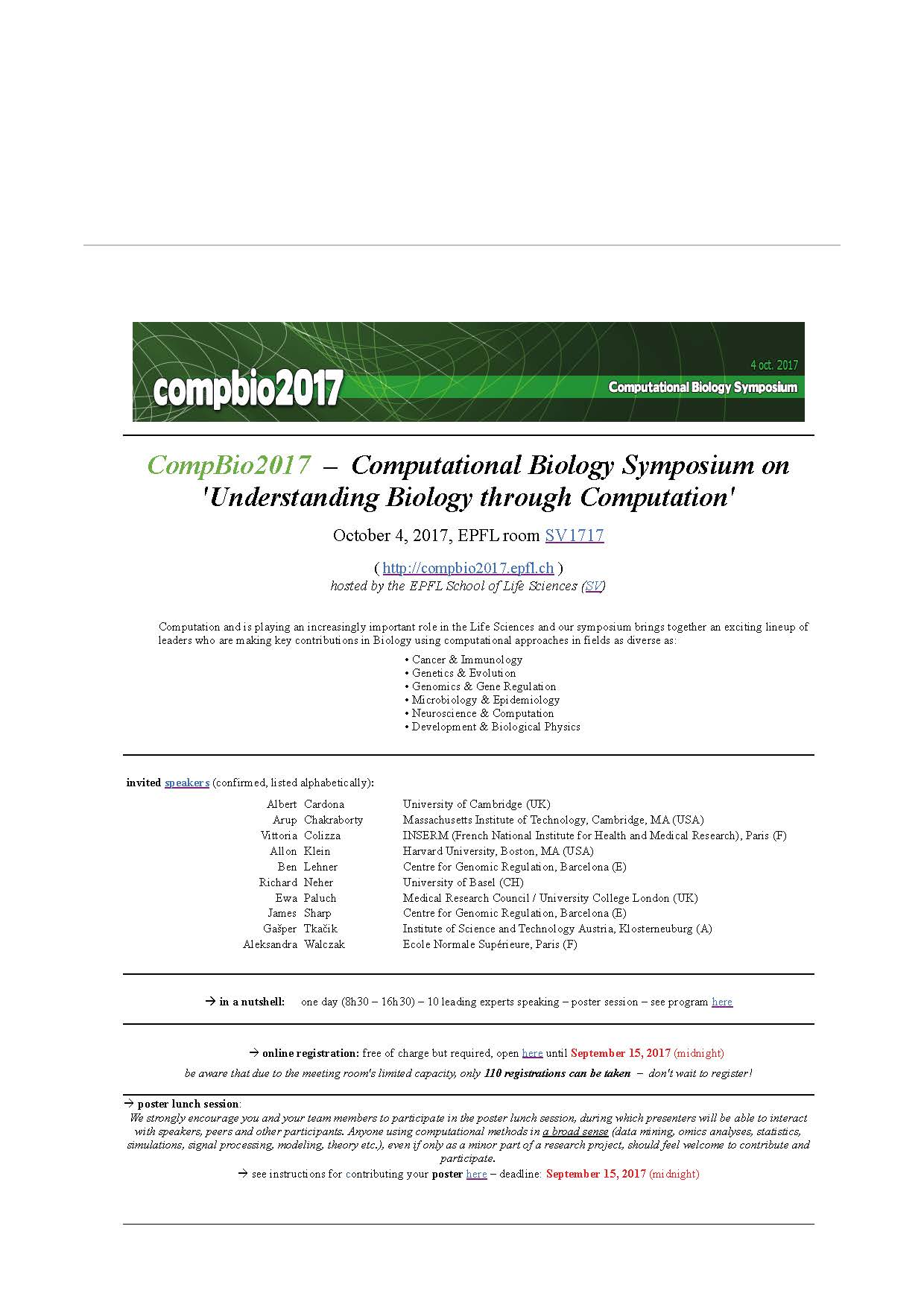 CompBio2017 Computational Biology Symposium