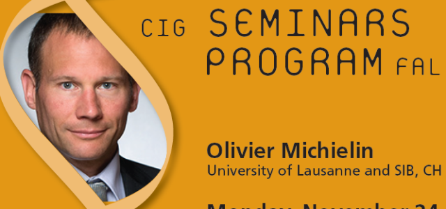 CIG Seminars Fall 2014 Monday 12:15,Génopode, auditorium B, followed by sandwiches Download the poster Monday November 24, 2014 Olivier Michielin, University of Lausanne and SIB, CH «Rational design of new […]