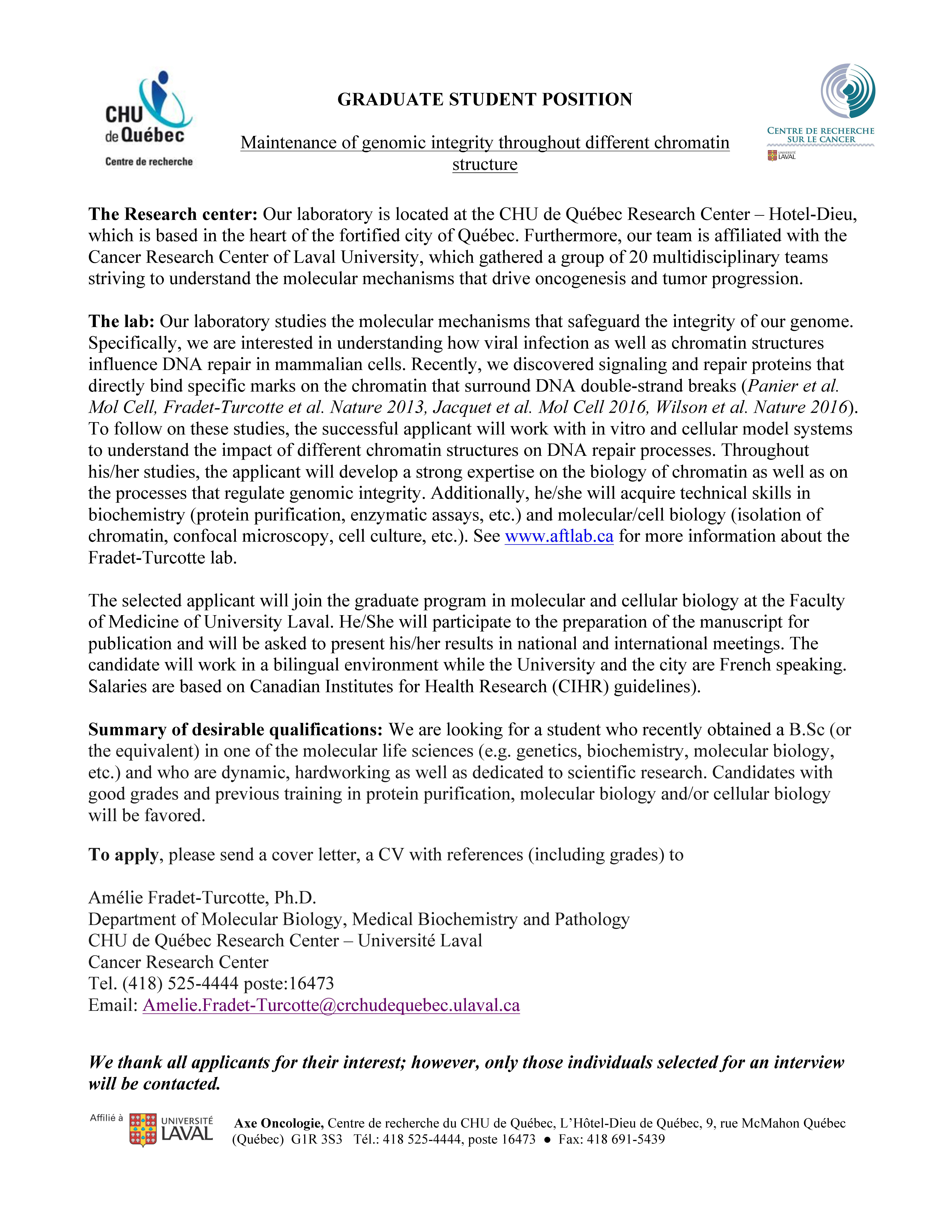 Graduate student position available at the department of molecular graduate student position available at the department of molecular biology chu de qubec research center canada yelopaper Choice Image