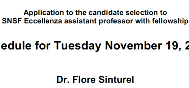 Application to the candidate selection to SNSF Eccellenza assistant professor with fellowship Tuesday November 19, 2019 Dr. Flore Sinturel University of Geneva, CMU (CH)   12:15                    Seminar (Génopode, Auditorium B) […]