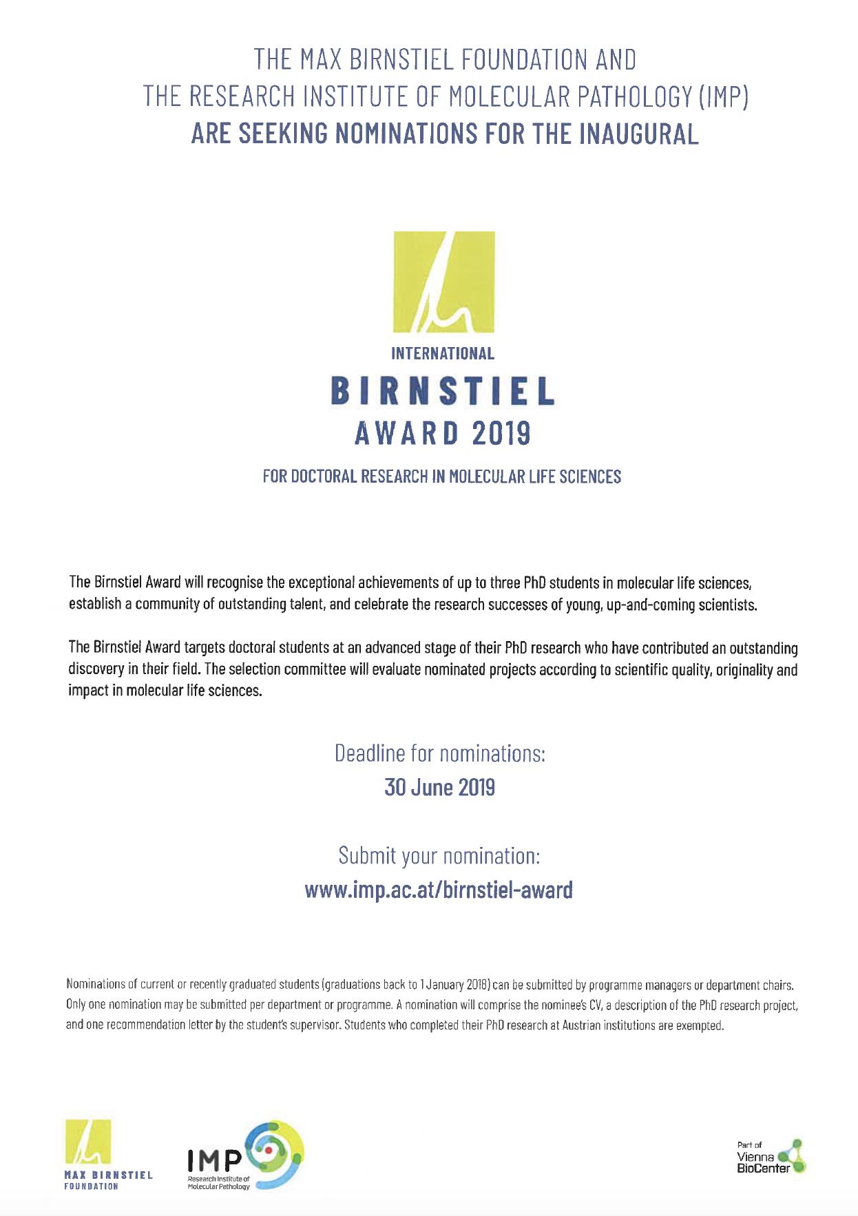 Birnstiel award 2019 – nomination deadline: June 30, 2019