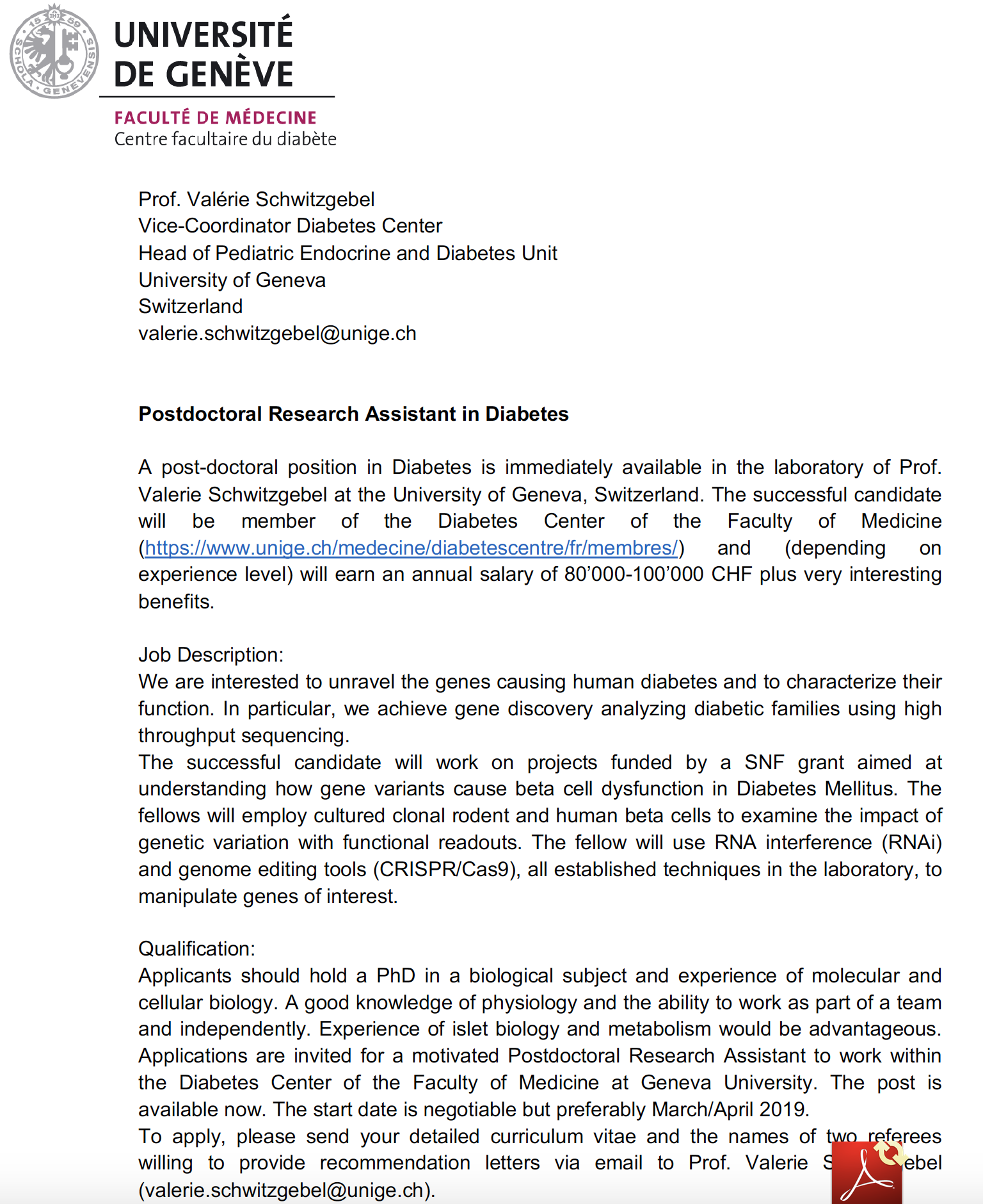 Post-doctoral fellow position available in Diabetes at the