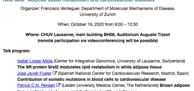 """We are pleased to announce the new date of the Mini-Symposium of the Cardiovascular and metabolism (CVM) PhD program of the Faculty of Biology and Medicine, UNIL/CHUV, entitled """"Adipose tissue […]"""